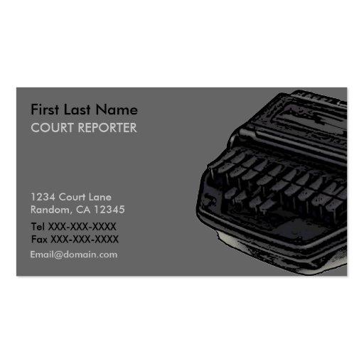 Stenograph machine Court Reporter business cards