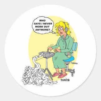 Stenographer Cartoon Classic Round Sticker