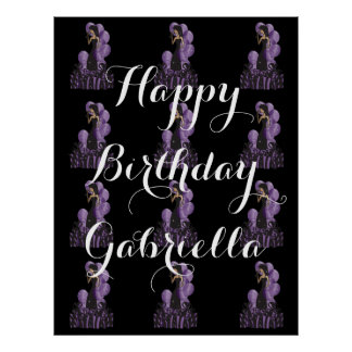 Step and Repeat Happy Birthday Girl | Purple Poster