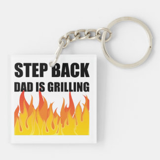 Step Back Dad Grilling Keychain