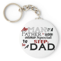 Step Dad Quote Fathers Day Keychain