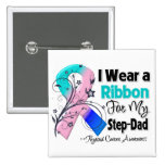 Step-Dad - Thyroid Cancer Ribbon 2 Inch Square Button