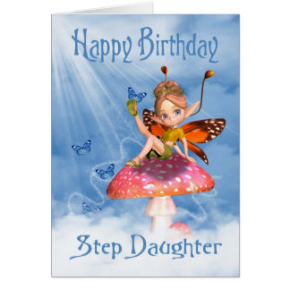 Step Daughter Birthday Card - Cute Fairy On A Mus