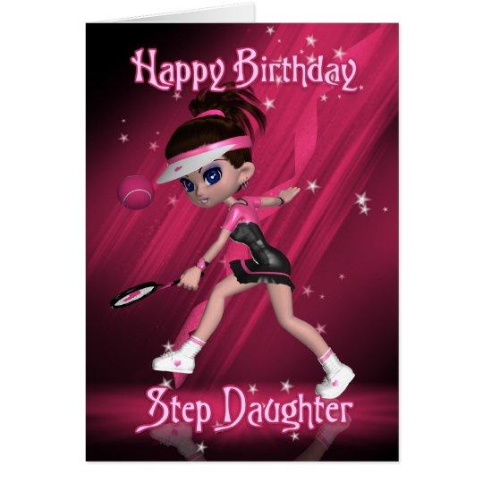 Step Daughter Birthday Card - Tennis