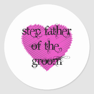 Step Father of the Groom Classic Round Sticker