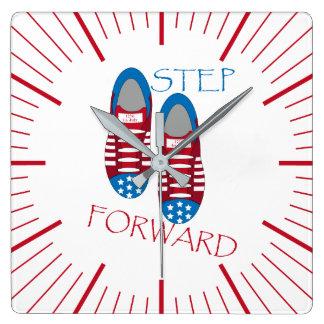 Step forward square wall clock