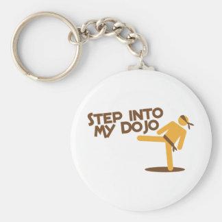 step into my dojo katate fighting design basic round button keychain