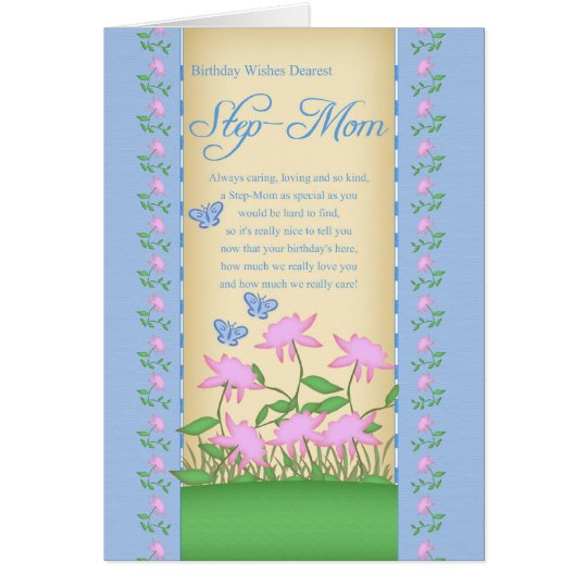 step-mom birthday card flowers and butterflies