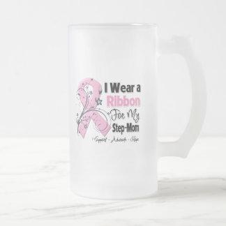 Step-Mom - Breast Cancer Pink Ribbon 16 Oz Frosted Glass Beer Mug
