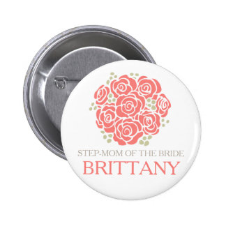 Step-mom of the bride coral posy wedding button