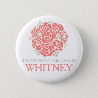 Step-mom of the groom coral posy wedding button