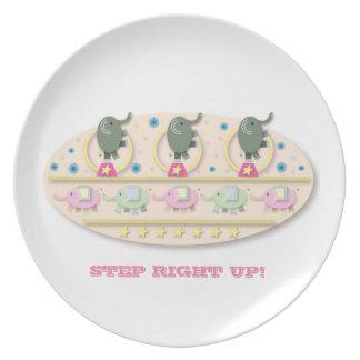 Step Right Up Circus Elephants Cartoon Melamine Plate