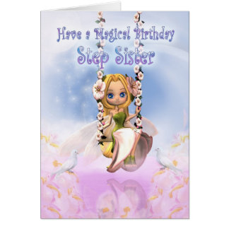 Step Sister Birthday card with Cutie Pie fairy on