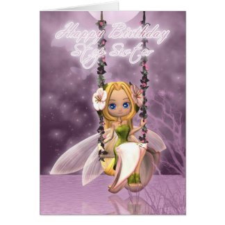 Step Sister Happy Birthday cute fairy on flower sw Greeting Cards