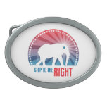 Step To the Right Oval Belt Buckle