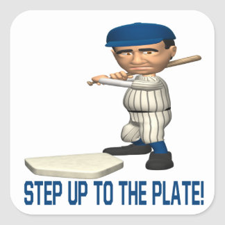 Step Up To The Plate Square Sticker