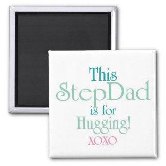 StepDad-Hugging 2 Inch Square Magnet
