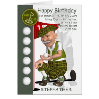 Stepfather Golfer Birthday Greeting Card With Humo