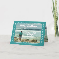 STEPFATHER Happy Birthday - Man and Ocean Waves zazzle_card