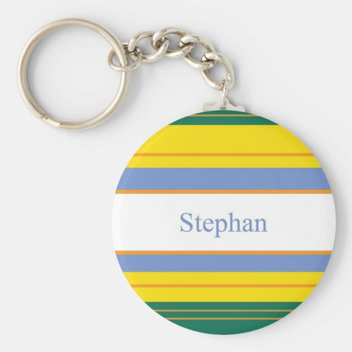 Stephan Classic Stripes Basic Round Button Keychain