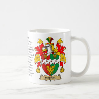 Stephan, the Origin, the Meaning and the Crest Coffee Mug