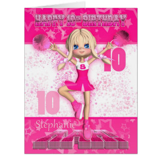 Stephanie 10th Birthday Card Pink Cheerleader