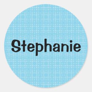 STEPHANIE Aqua Squares Custom Name Gift Collection Classic Round Sticker