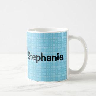 STEPHANIE Aqua Squares Custom Name Gift Collection Classic White Coffee Mug