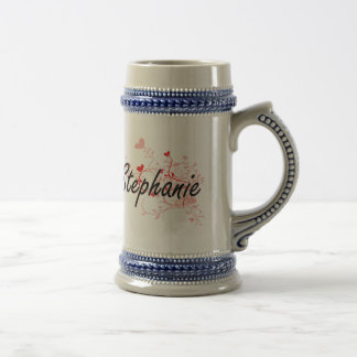 Stephanie Artistic Name Design with Hearts 18 Oz Beer Stein