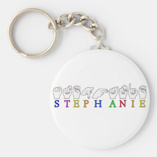 STEPHANIE ASL FINGERSPELLED NAME FEMALE SIGN BASIC ROUND BUTTON KEYCHAIN