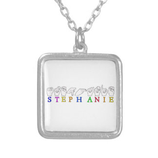 STEPHANIE ASL FINGERSPELLED NAME FEMALE SIGN SQUARE PENDANT NECKLACE