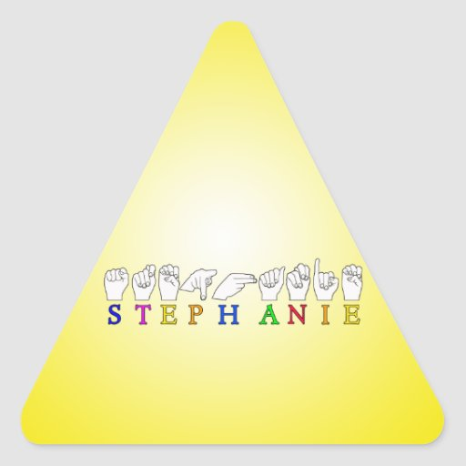 STEPHANIE ASL FINGERSPELLED NAME FEMALE SIGN TRIANGLE STICKER