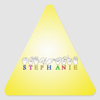 STEPHANIE ASL FINGERSPELLED NAME FEMALE SIGN TRIANGLE STICKER
