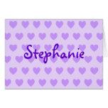 Stephanie en púrpura tarjeton