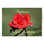Stephanie Happy Birthday Scarlet Rose Card