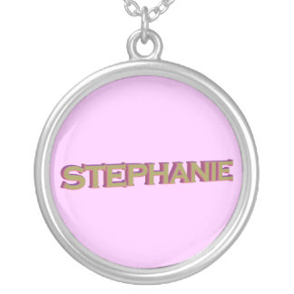Stephanie in 3D gold over pink pendant