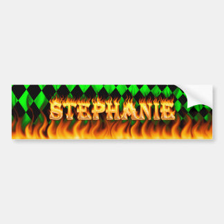 Stephanie real fire and flames bumper sticker desi