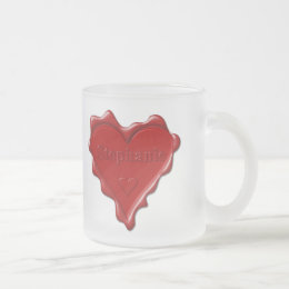 Stephanie. Red heart wax seal with name Stephanie. Frosted Glass Coffee Mug