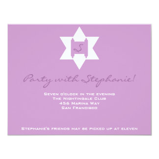 Stephanie Tess Bat Mitzvah Reception Purple Card