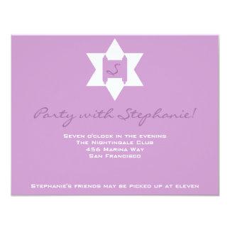 Stephanie Tess Bat Mitzvah Reception Purple Card
