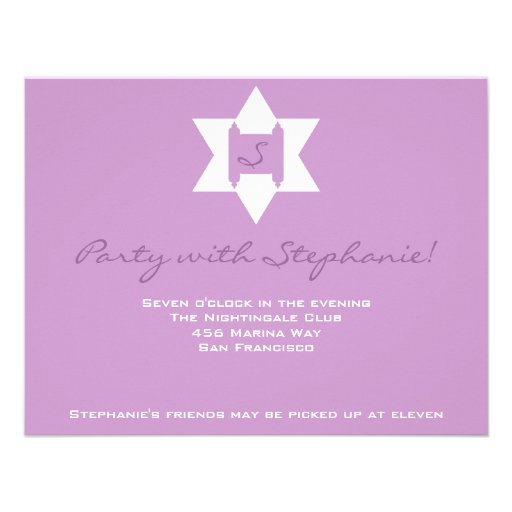 Stephanie Tess Bat Mitzvah Reception Purple Announcements