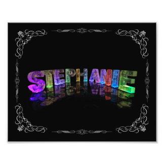 Stephanie  - The Name Stephanie in 3D Lights (Phot Photo Print