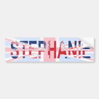 Stephanie, Union Jack design Car Bumper Sticker