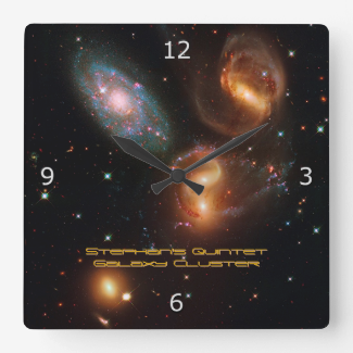 Stephans Quintet deep space star galaxy cluster Square Wallclocks