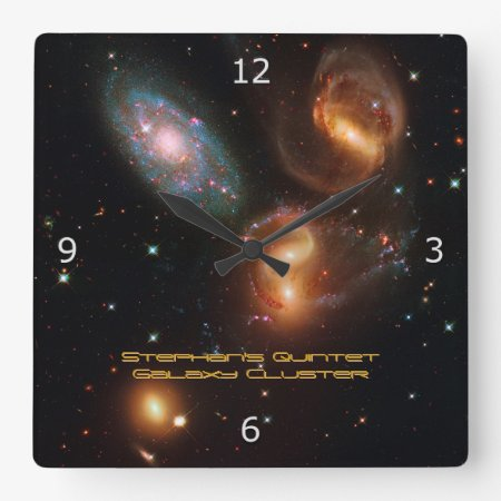 Stephans Quintet deep space star galaxy cluster Square Wall Clock