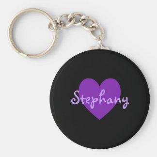 Stephany in Purple Basic Round Button Keychain