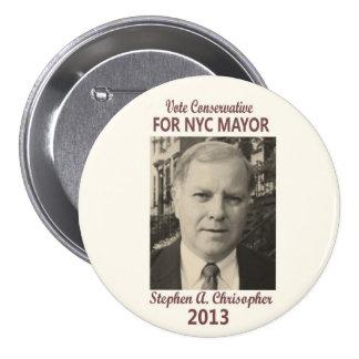 Stephen Christopher para el alcalde 2013 de NYC Pin Redondo De 3 Pulgadas