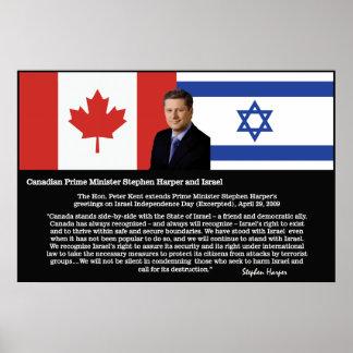 Stephen Harper, P.M. Canadá - ayuda para Israel Póster