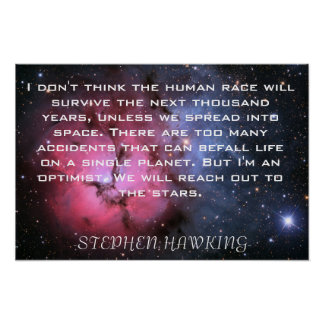 Stephen Hawking quote Space poster