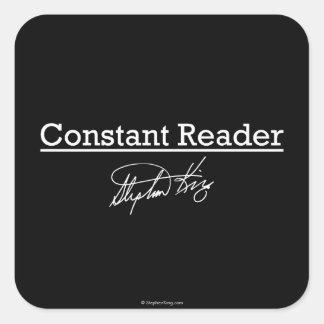 Stephen King, lector constante Pegatina Cuadrada
